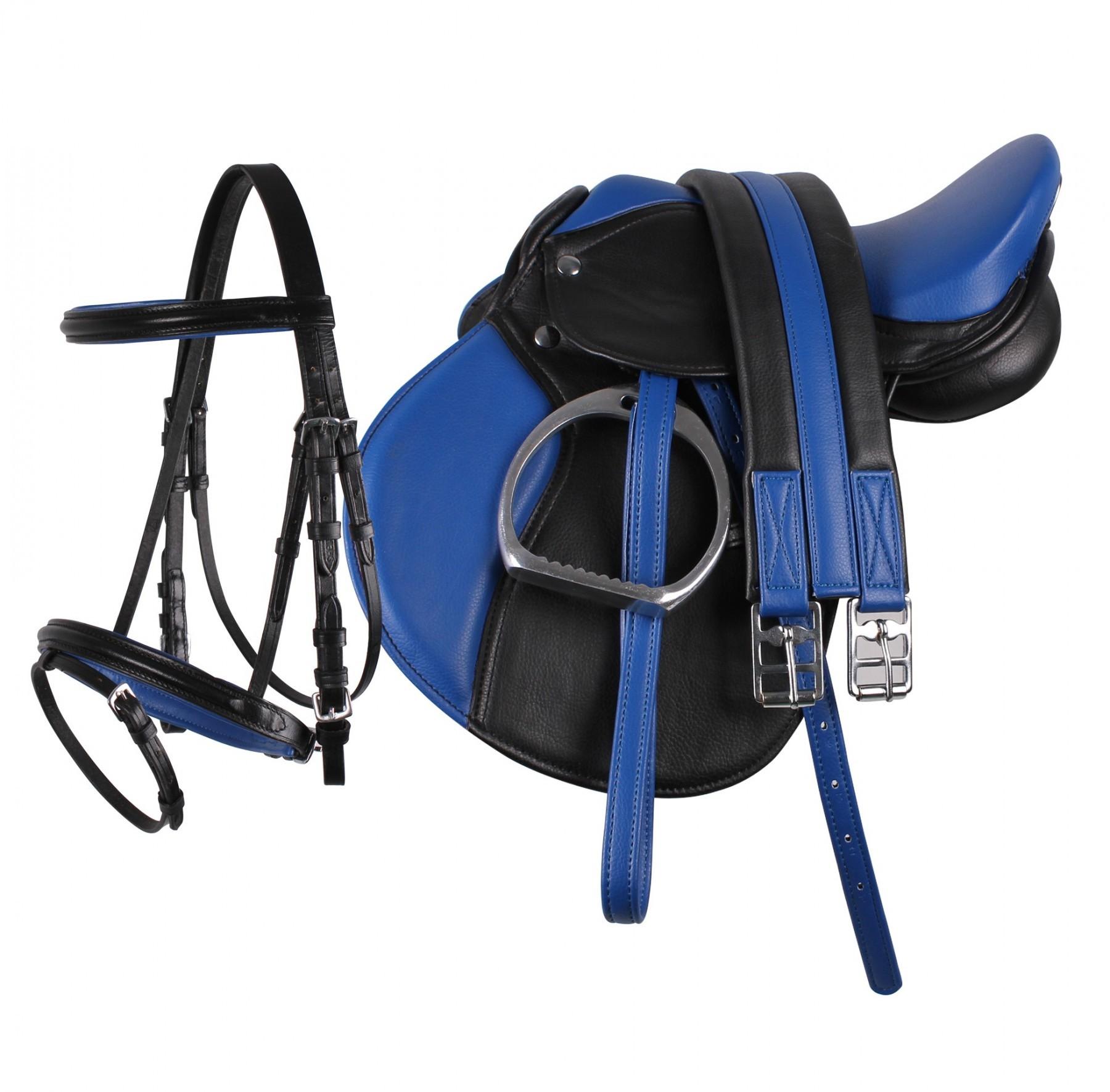 QHP Complete zadelset zwart/blauw