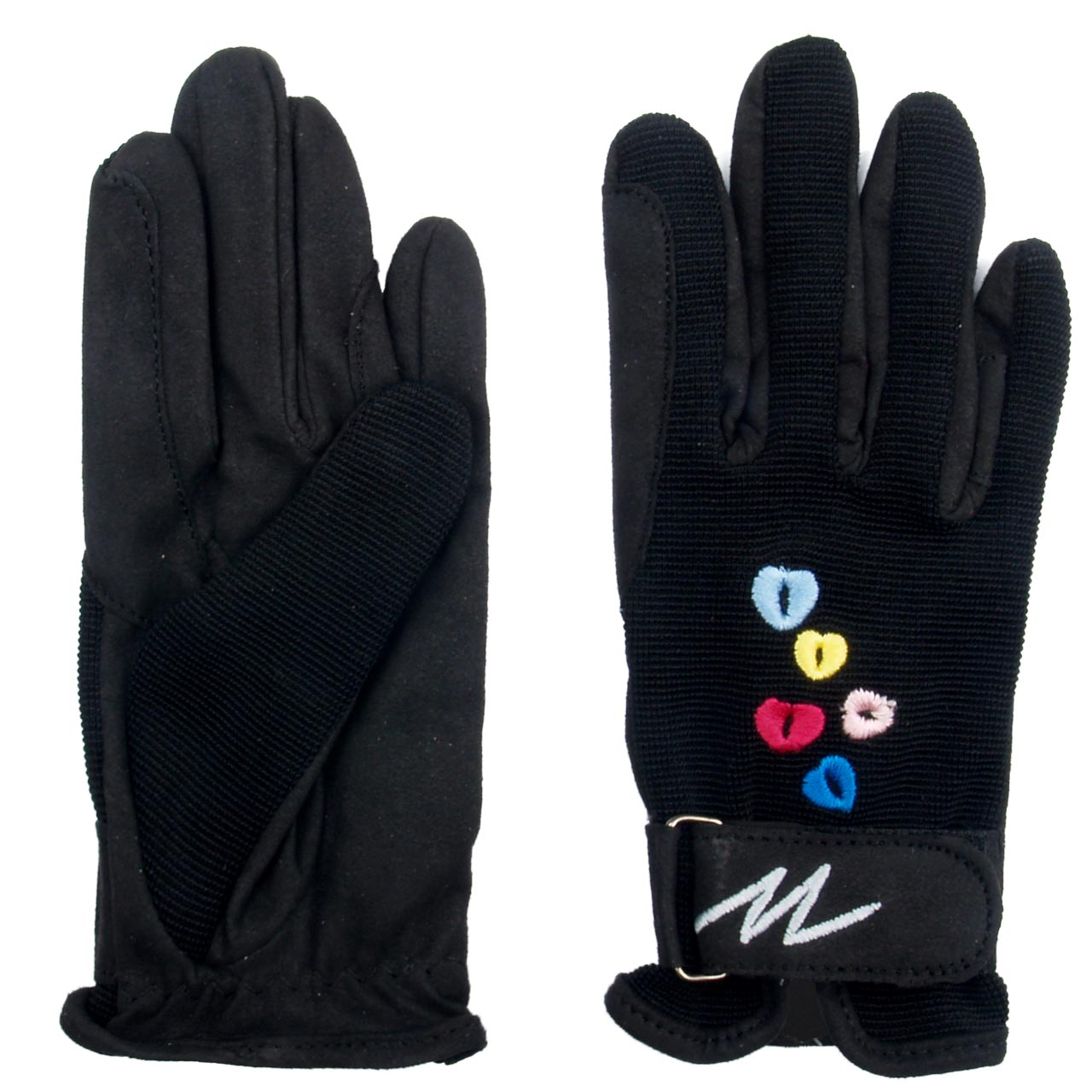 Mondoni Hearts handschoenen jr zwart maat:l