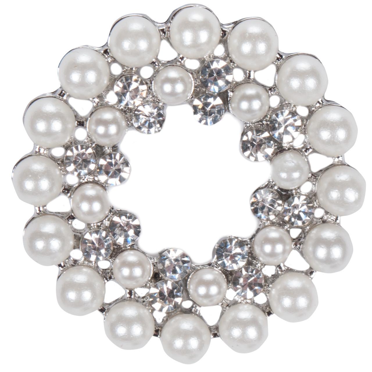 Harrys Horse Crystal Pearl plastronspeld zilver