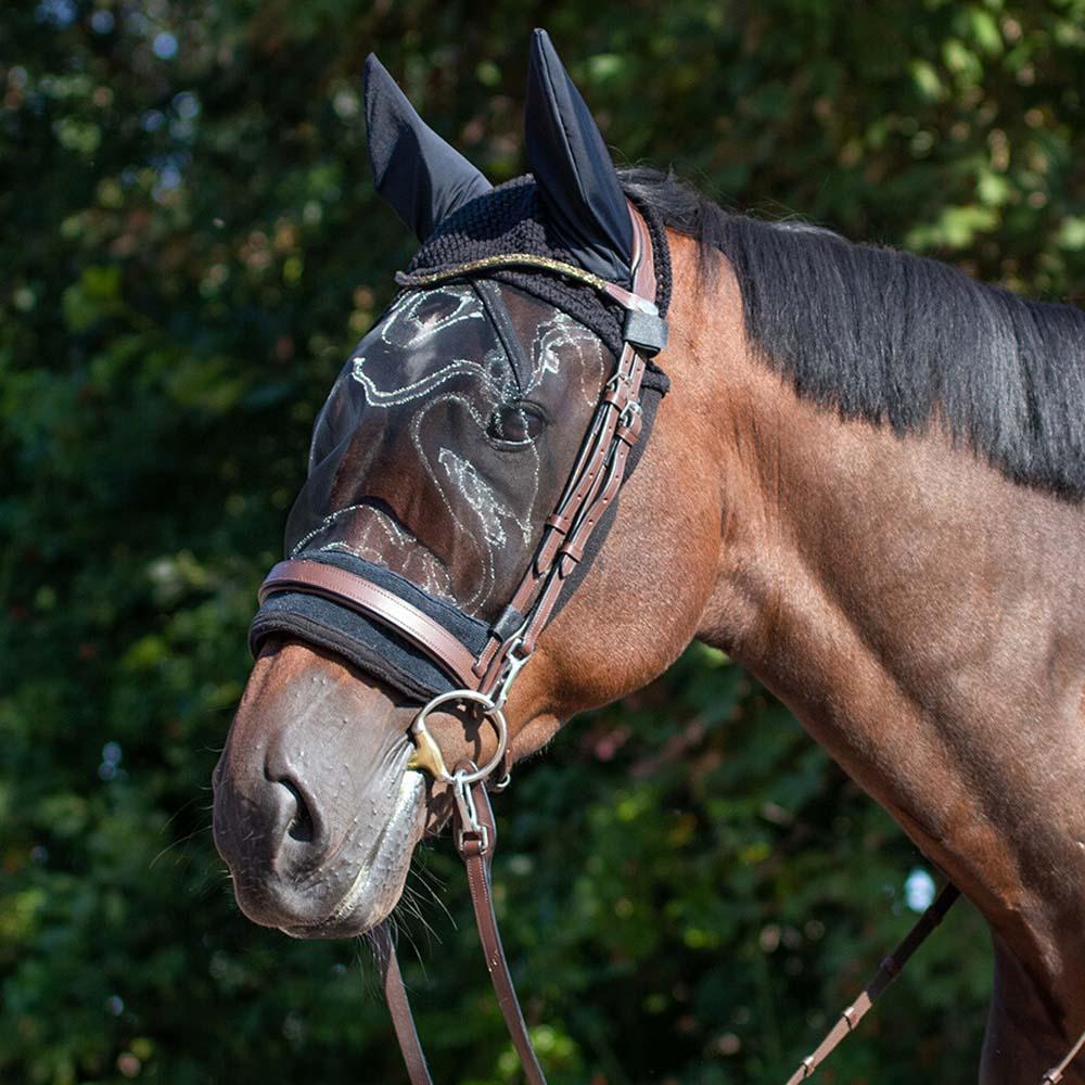 QHP Oornet met vliegenmasker zwart maat:pony