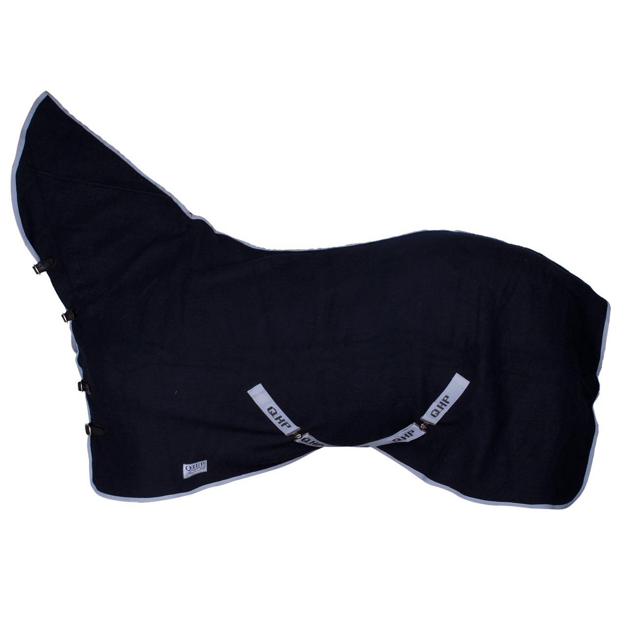 QHP wollen deken met hals donkerblauw maat:185