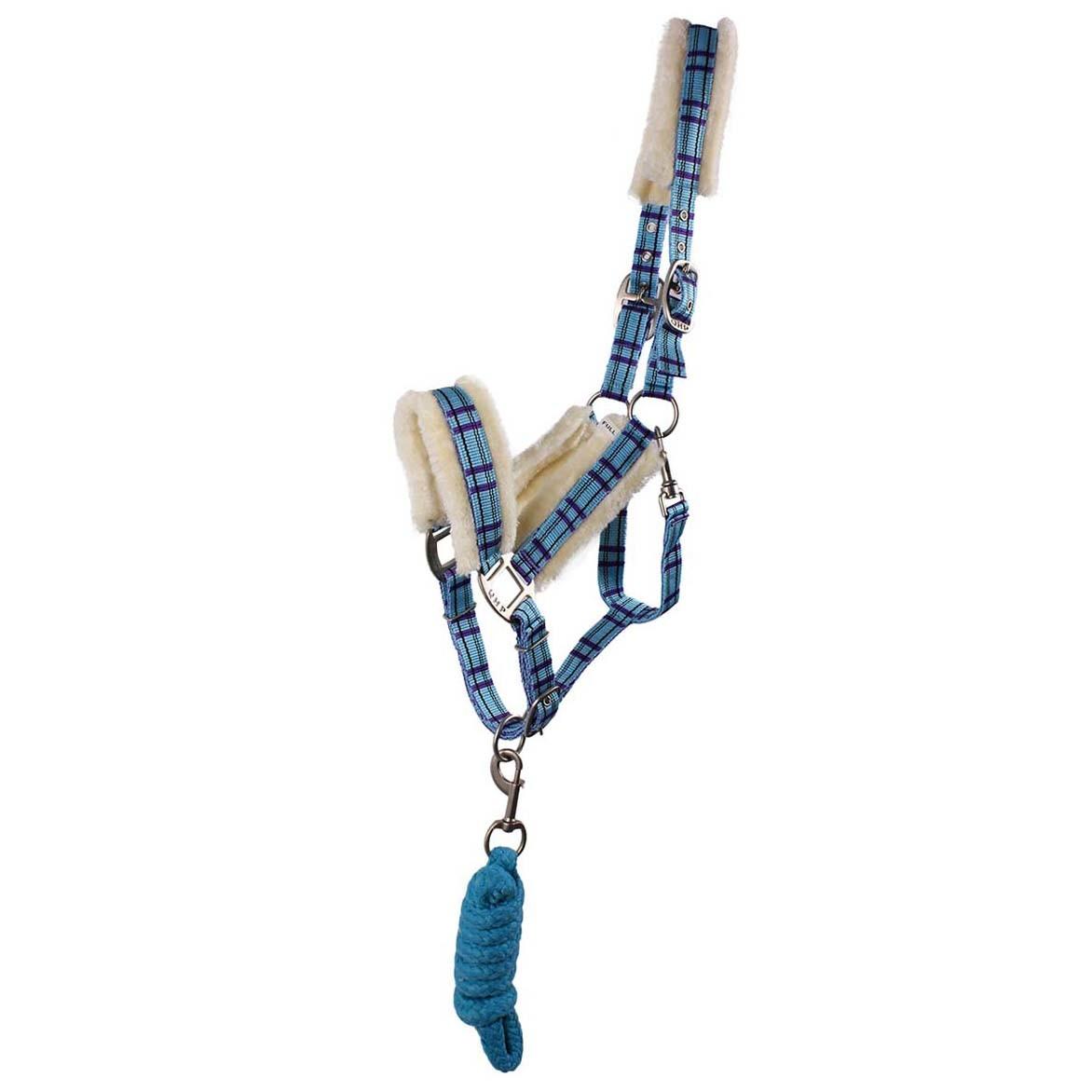 QHP halsterset bont lichtblauw maat:shetl