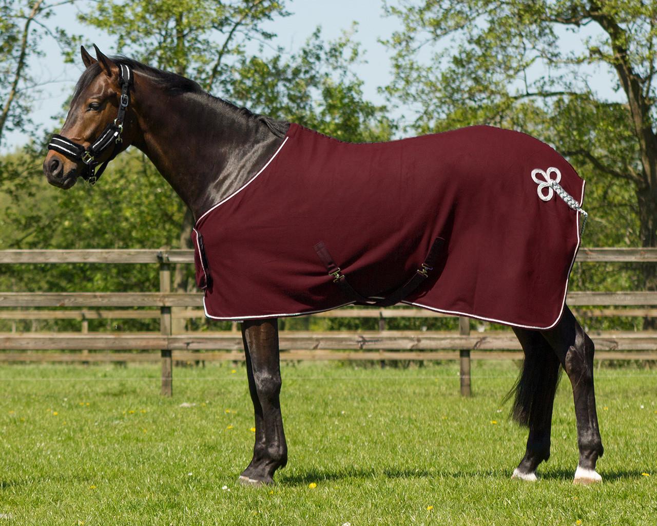 QHP Ornament fleecedeken bordeaux maat:185