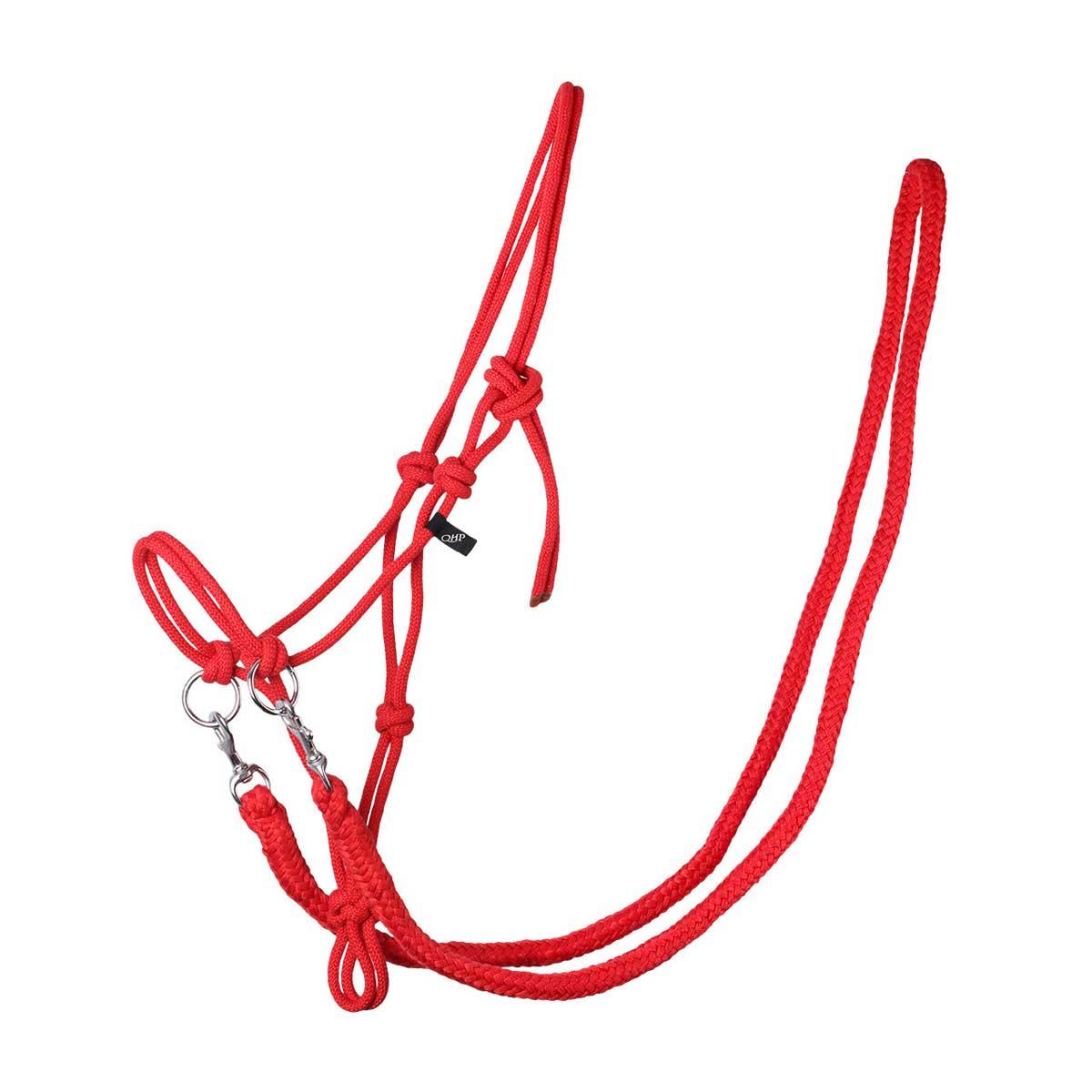 QHP Touwhalster met teugels rood maat:shetl