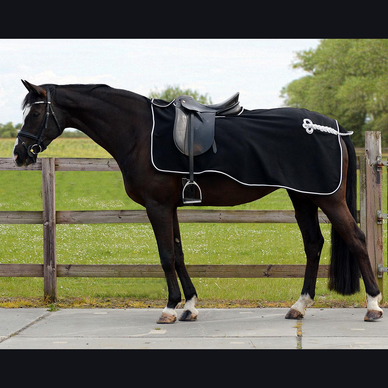 QHP Fleece ornament uitrijdeken zwart maat:s
