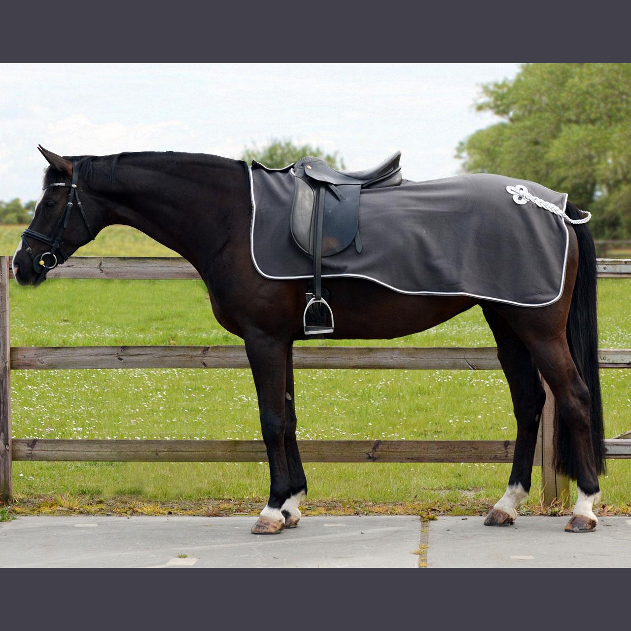 QHP Fleece ornament uitrijdeken grijs maat:l