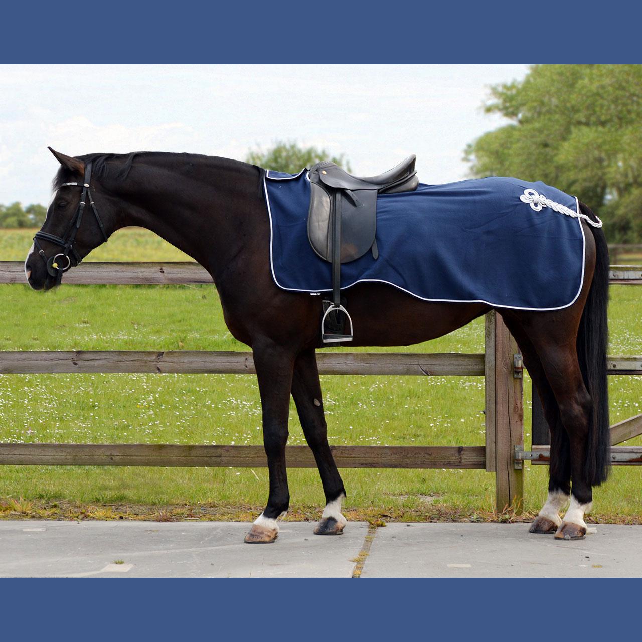 QHP Fleece ornament uitrijdeken blauw maat:l