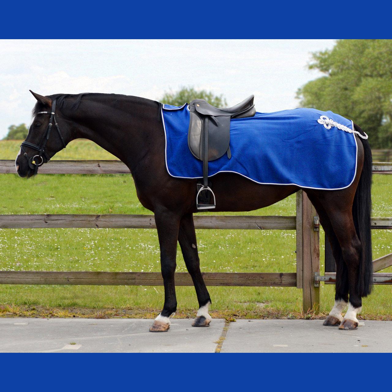 QHP Fleece ornament uitrijdeken kobalt maat:l