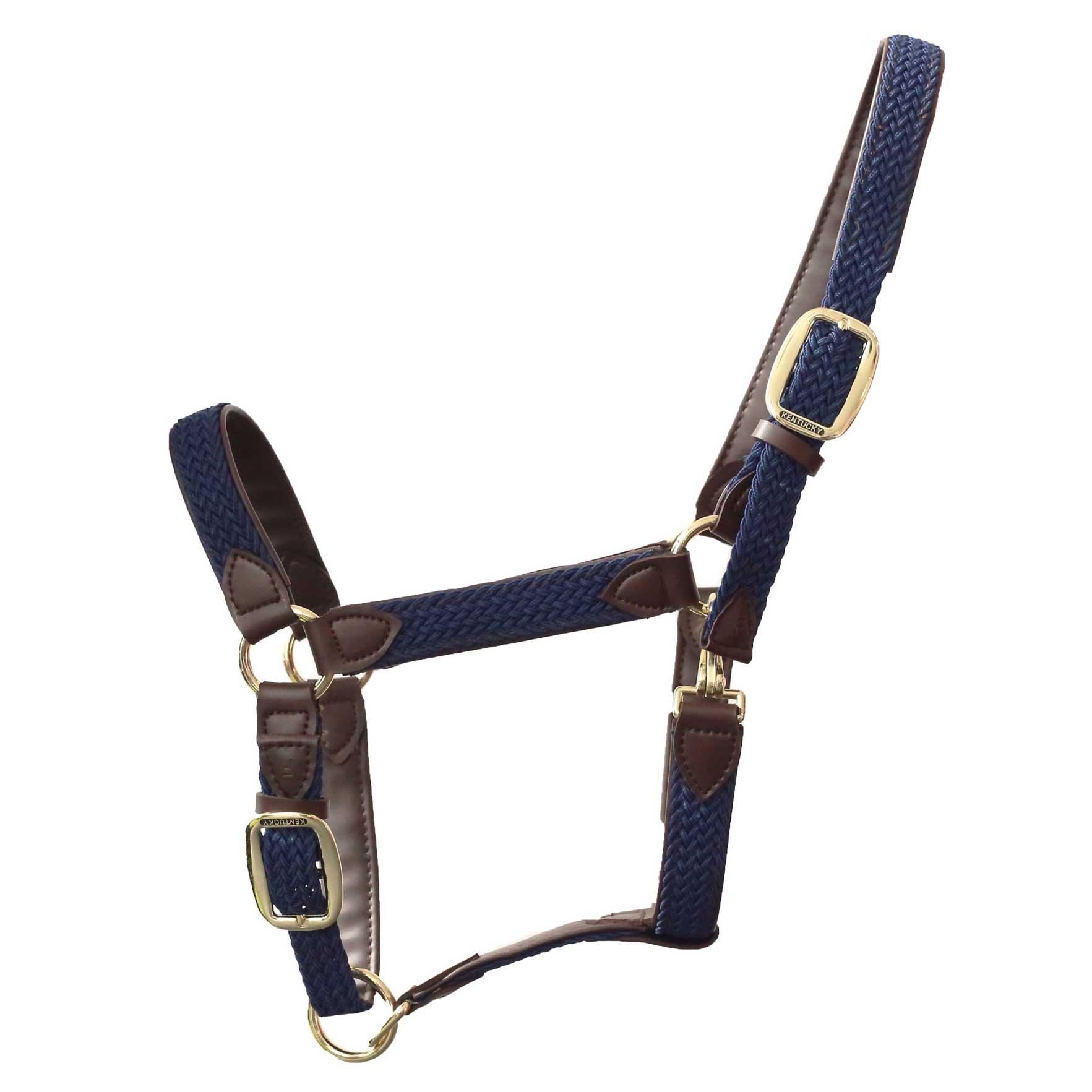 Kentucky halster gevlochten donkerblauw maat:full