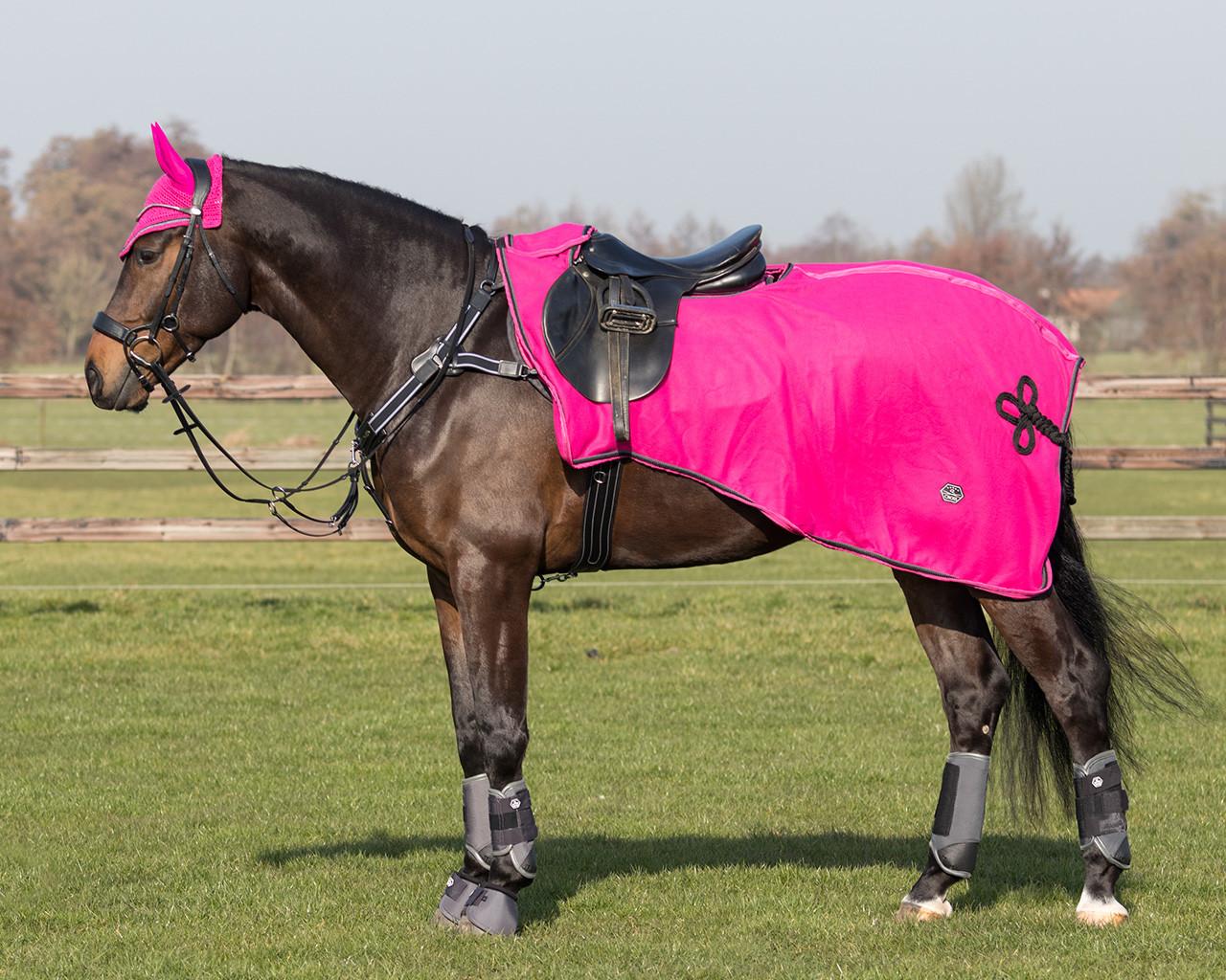 QHP Uitrijdeken fleece Eldorado roze maat:m