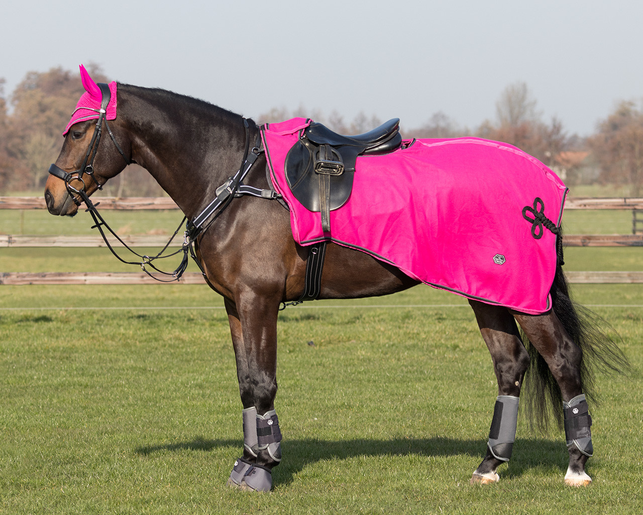 QHP Uitrijdeken fleece Eldorado roze maat:xl