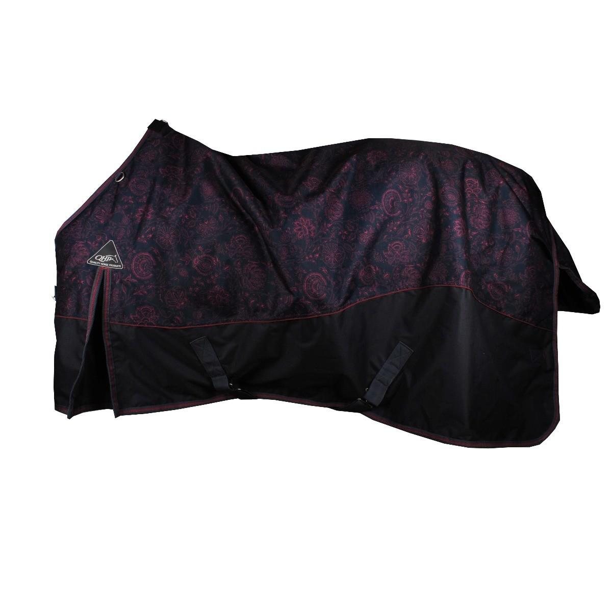QHP Flower Turnout deken 300gr zwart maat:205