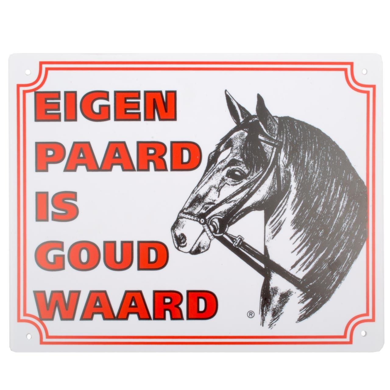 Bord: eigen paard is goud waard