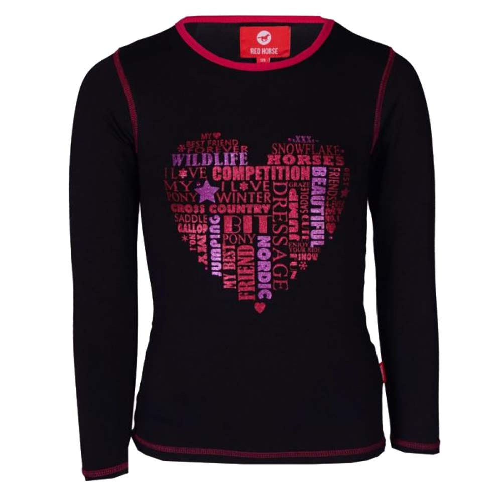 Red Horse Fame Kinder shirt zwart maat:128