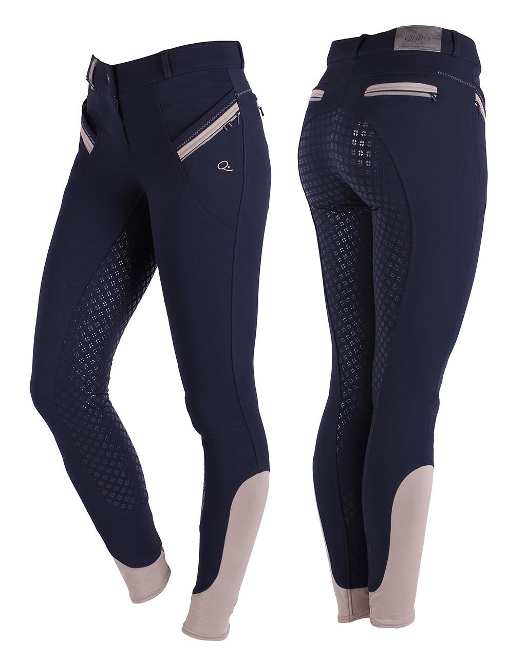 QHP Rijbroek Bliss anti-slip zitvlak donkerblauw maat:40