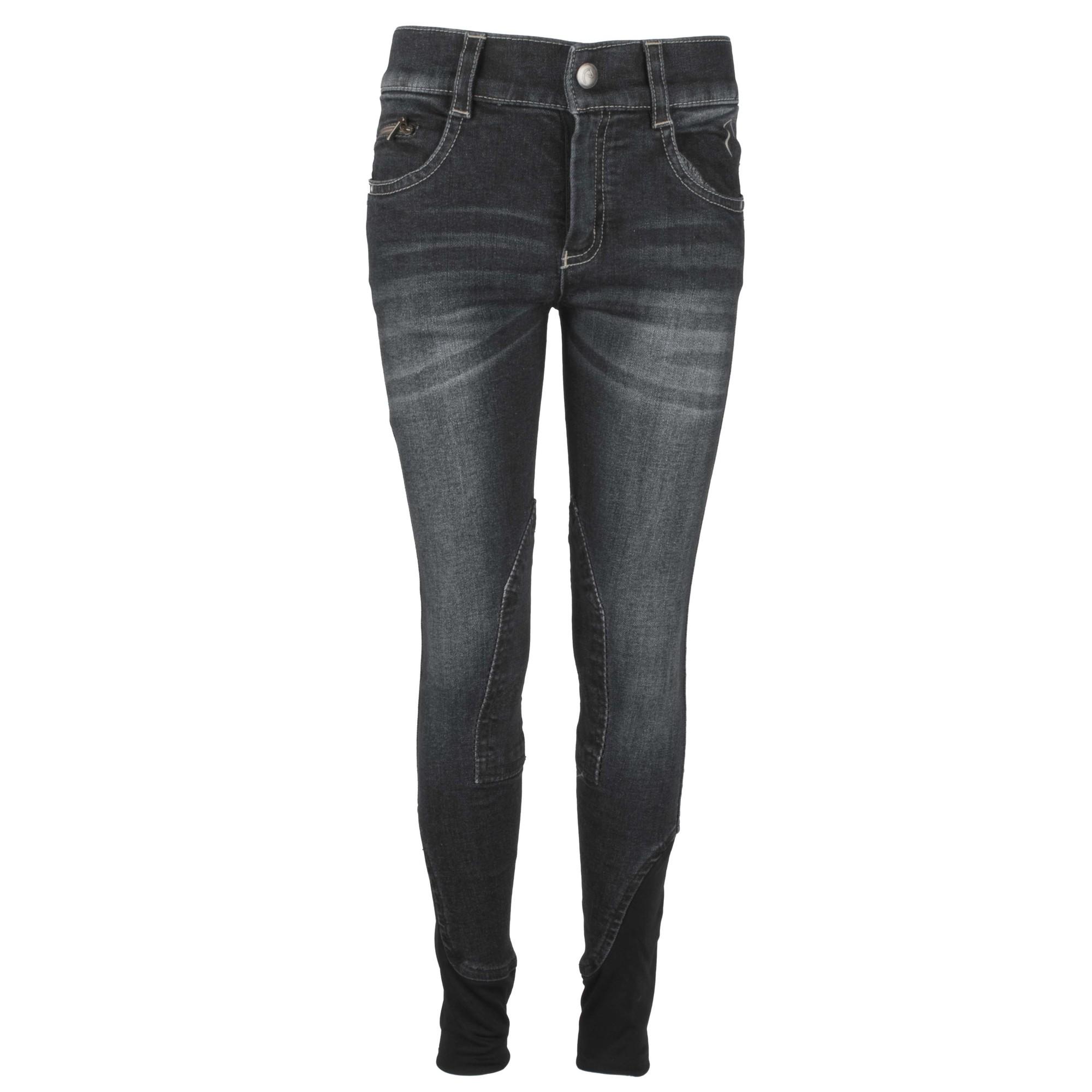 Equitheme Texas jeans kinder rijbroek zwart maat:140