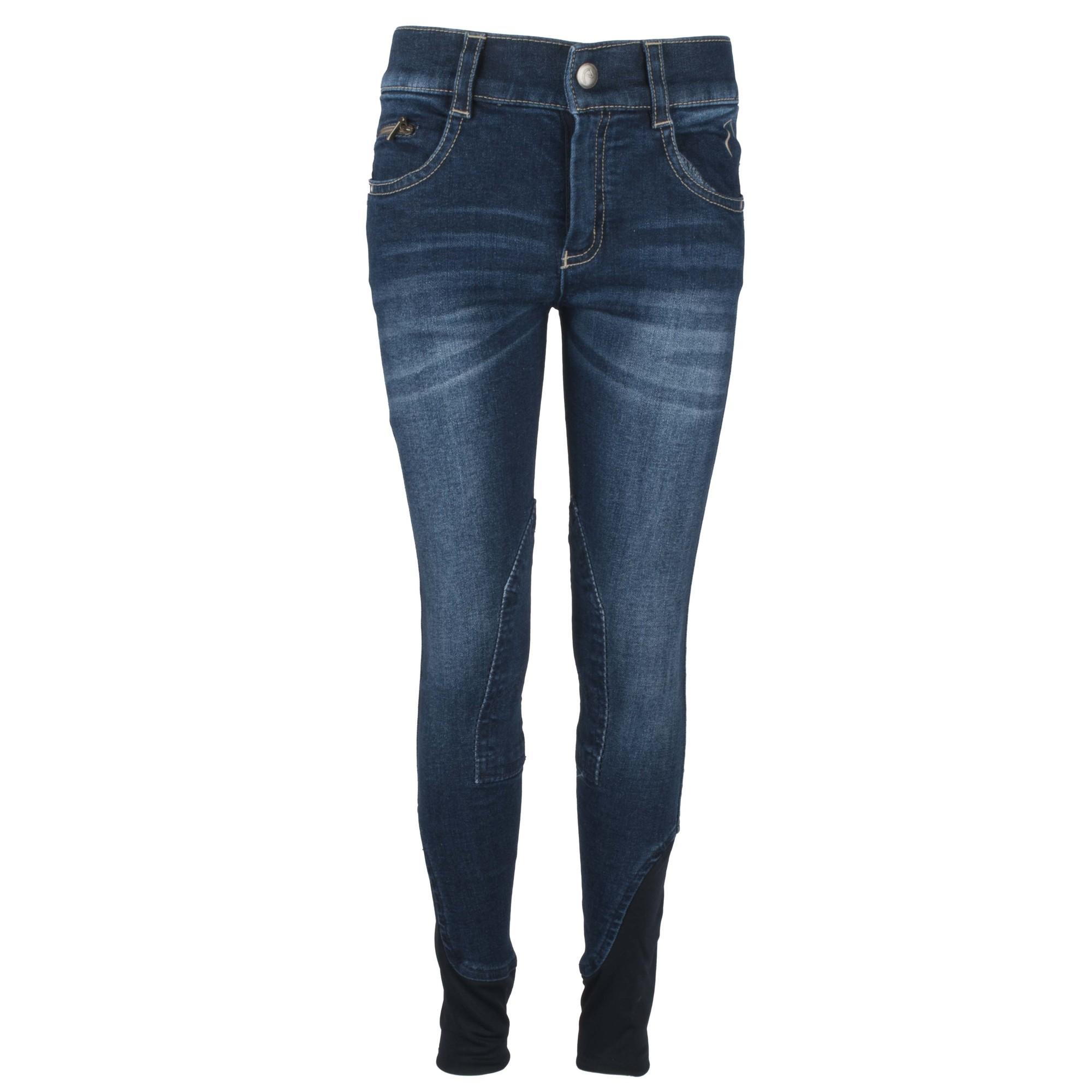 Equitheme Texas jeans kinder rijbroek donkerblauw maat:164