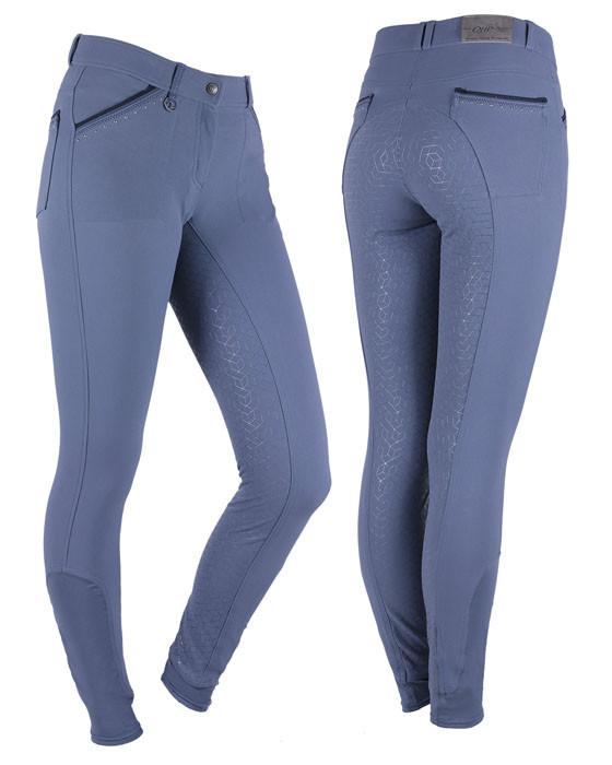 QHP Rijbroek Loureen anti-slip zitvlak blauw maat:36