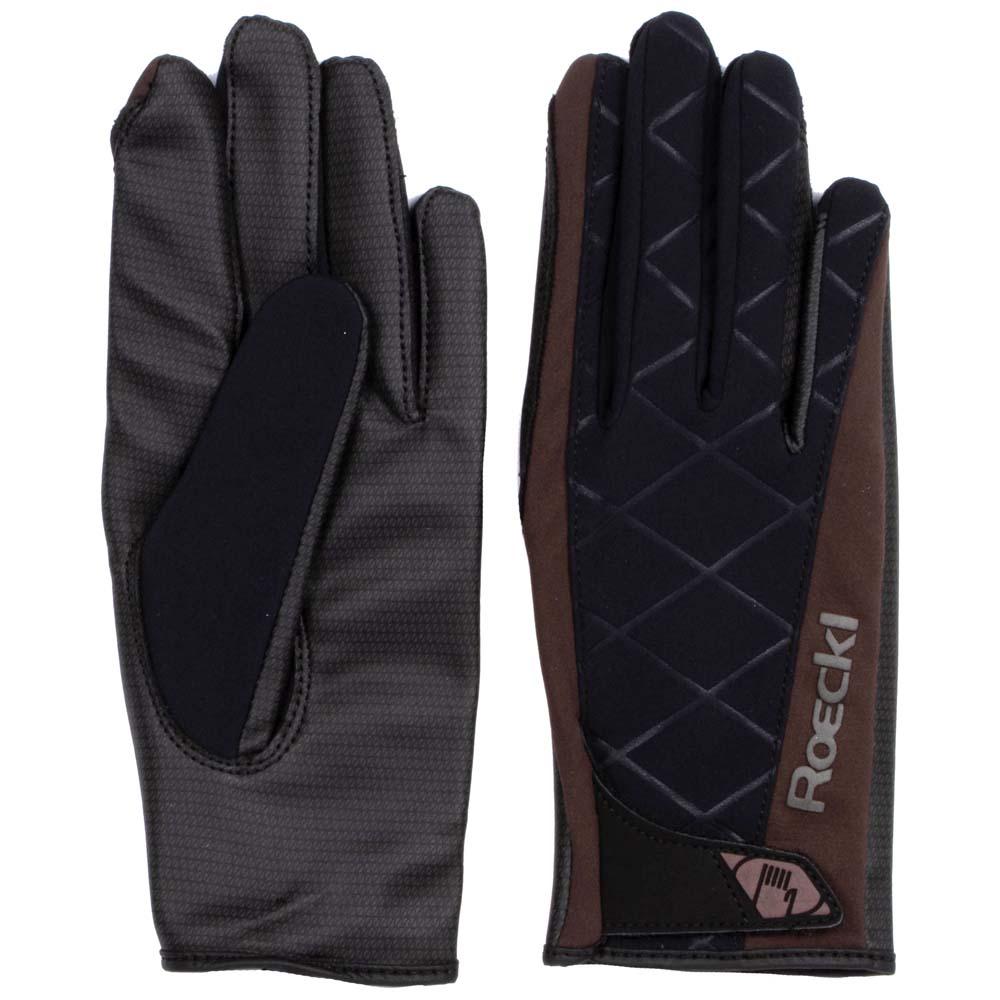 Roeckl Handschoen Wattens zwart/bruin maat:7,5
