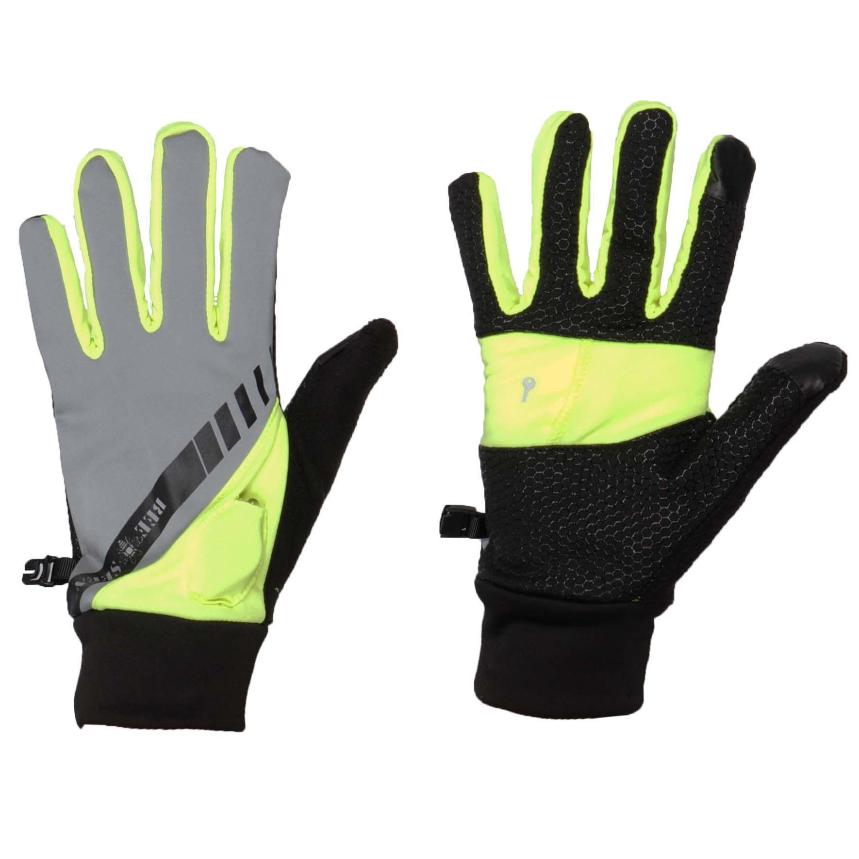 Reflective Led handschoenen zwart/grijs maat:xl-xxl