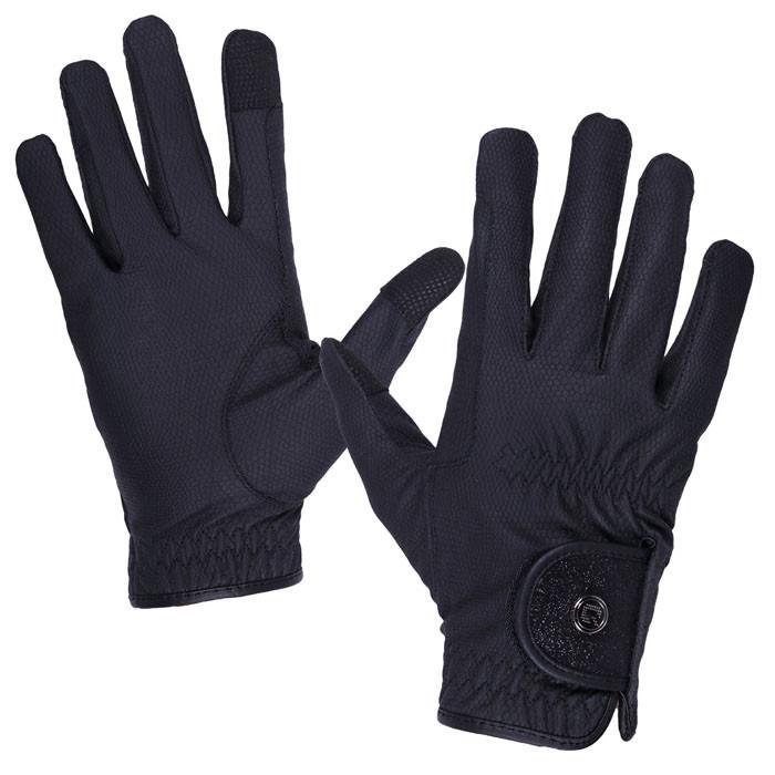QHP Handschoen Glitz zwart maat:l