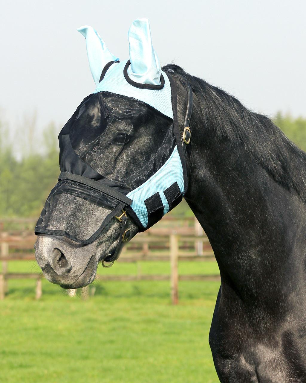 QHP Vliegenkap met afneembare neusflap lichtblauw maat:pony