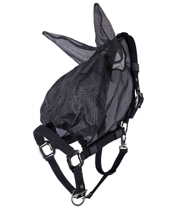QHP Halster-vliegenkap met oren zwart maat:full