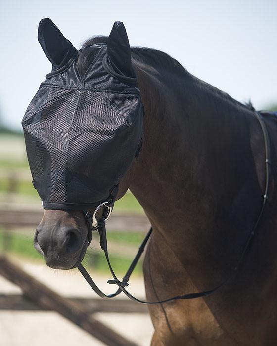 QHP Rij vliegenmasker met oren zwart maat:pony