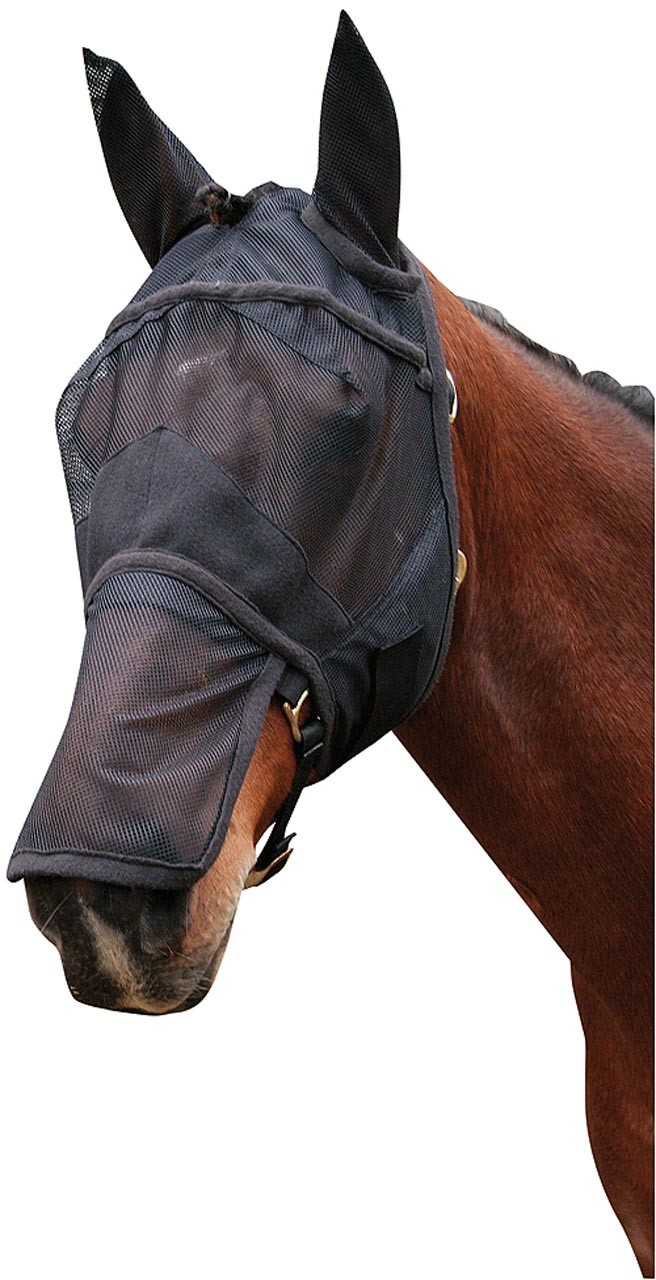 Harry's Horse Vliegenmasker oren en neus zwart maat:full